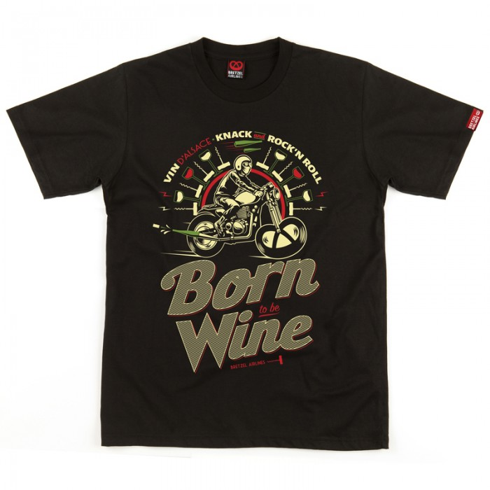 t shirt homme born to be wine vin d 39 alsace noir. Black Bedroom Furniture Sets. Home Design Ideas