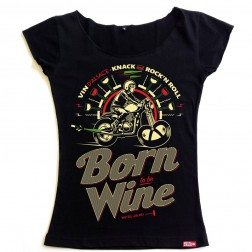 T-shirt femme Born to be Wine - Vin d'Alsace - noir