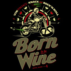 T-shirt homme Born to be Wine - Vin d'Alsace - noir