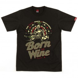 T-shirt homme Born to be Wine - Vin d'Alsace noir